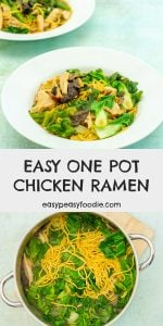 Quick, easy and nutritious, this Easy One Pot Chicken Ramen is packed full of delicious Japanese umami flavours - like seaweed, miso and soy sauce - but takes just 20 minutes to make and only uses one pot. Perfect when you need dinner in a hurry, but don't want to compromise on flavour! #ramen #chickenramen #noodles #chickennoodles #chickennoodlesoup #noodlesoup #japanesenoodlesoup #japanesefood #onepot #onepotdinner #under500calories #under30minutes #easymidweekmeals #easymeals #midweekmeals #easydinners #dinnertonight #dinnertonite #familydinners #familyfood #easypeasyfoodie #cookblogshare