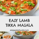 Who says tikka masala has to be made with chicken? This delicious LAMB tikka masala is quick and easy to prepare and tastes AMAZING! Plus, it's cheaper and healthier than a takeaway. This recipe uses fresh diced lamb, but it can easily be adapted to make good use of your roast lamb leftovers. (full instructions for both options given in the recipe card). #lambtikkamasala #lambtikka #lambcurry #homemadelambcurry #leftoverlambcurry #roastlambleftovers #leftoverroastlamb #easylambcurry #fakeaway ##easymidweekmeals #glutenfree #dairyfree #onepan #onepandinner #easyrecipes #easymeals #easyentertaining #easydinners #dinnertonight #dinnertonite #familydinners #familyfood #easypeasyfoodie #cookblogshare