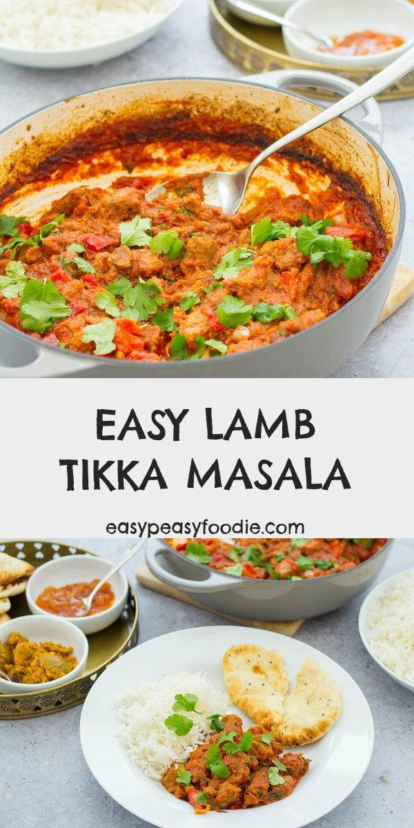 Who says tikka masala has to be made with chicken? This delicious LAMB tikka masala is quick and easy to prepare and tastes AMAZING! Plus, it's cheaper and healthier than a takeaway. Use fresh diced lamb or roast lamb leftovers. #lambtikkamasala #lambtikka #lambcurry #homemadelambcurry #leftoverlambcurry #roastlambleftovers #leftoverroastlamb #easylambcurry #fakeaway #easymidweekmeals #easyrecipes #easymeals #easydinners #dinnertonight #dinnertonite #familydinners #familyfood #easypeasyfoodie