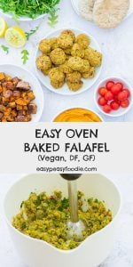 Quick, easy to make and totally delicious, these Easy Oven Baked Falafels are going to be your new favourite recipe… Simply blitz chickpeas and flavourings, shape into balls and bake – that's it! #falafel #ovenbakedfalafel #bakedfalafel #ovenbaked #chickpeas #vegan #vegetarian #glutenfree #dairyfree #easyentertaining #easymidweekmeals #easymeals #midweekmeals #easydinners #dinnertonight #dinnertonite #familydinners #familyfood #easypeasyfoodie #cookblogshare