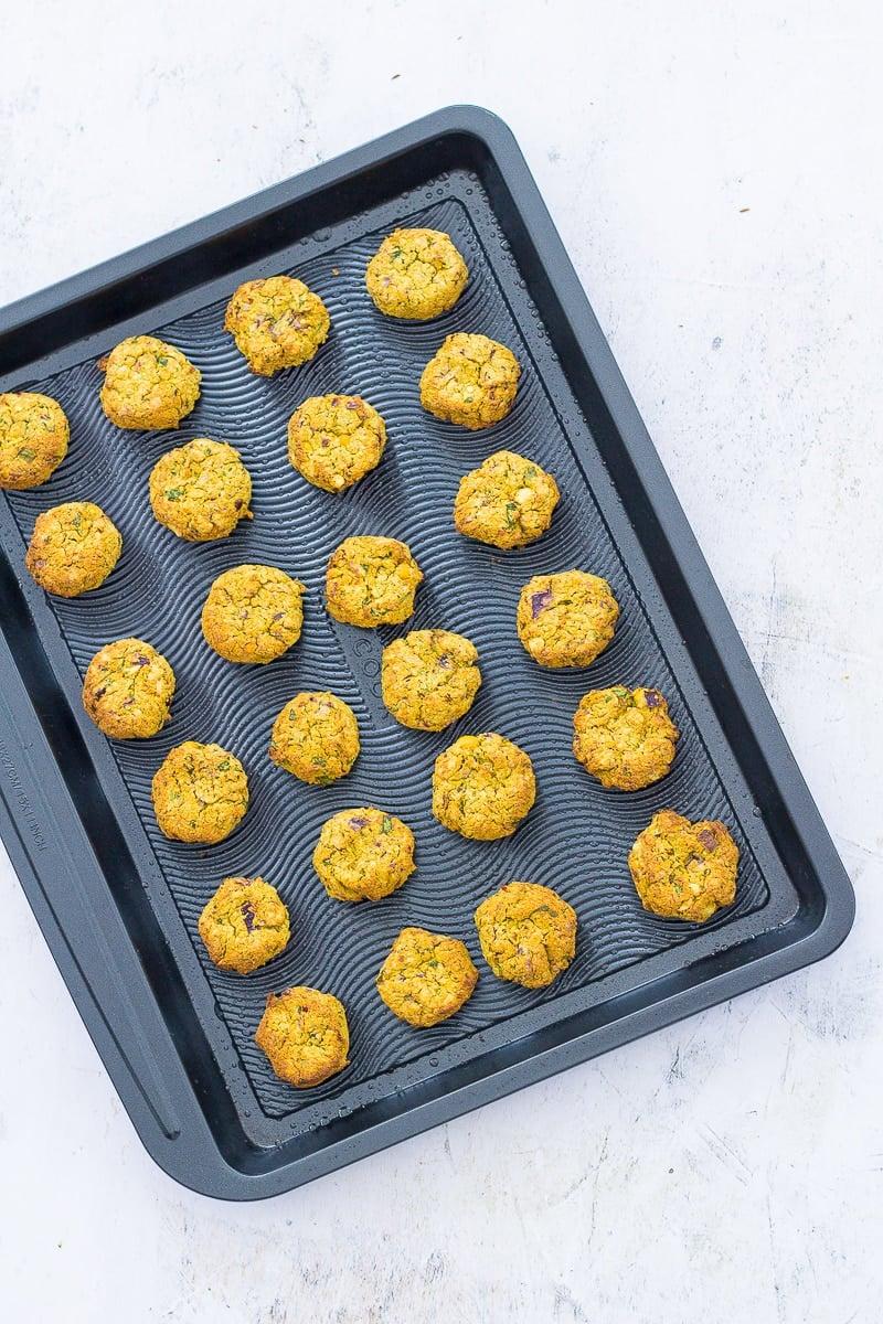 Easy Oven Baked Falafel on a baking sheet