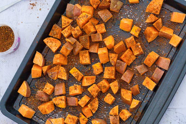 Baharat Roasted Sweet Potato Cubes