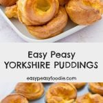 These homemade Yorkshire puddings are so easy peasy and taste so amazing, you will never again even consider buying ready-made yorkies! Better still they rise perfectly every time, only take 5 minutes hands-on time and are practically foolproof. #yorkshirepuddings #yorkshirepudding #easyyorkshirepuddings #homemadeyorkshirepuddings #foolproofyorkshirepuddings #easypeasyyorkshirepuddings #britishclassic #roastdinner #roastbeef #roastbeefandyorkshirepuddings #yorkshirepuddingtin #vegetarian #easyentertaining #easymidweekmeals #easysidedish #easydinners #dinnertonight #dinnertonite #familydinners #familyfood #easypeasyfoodie #cookblogshare