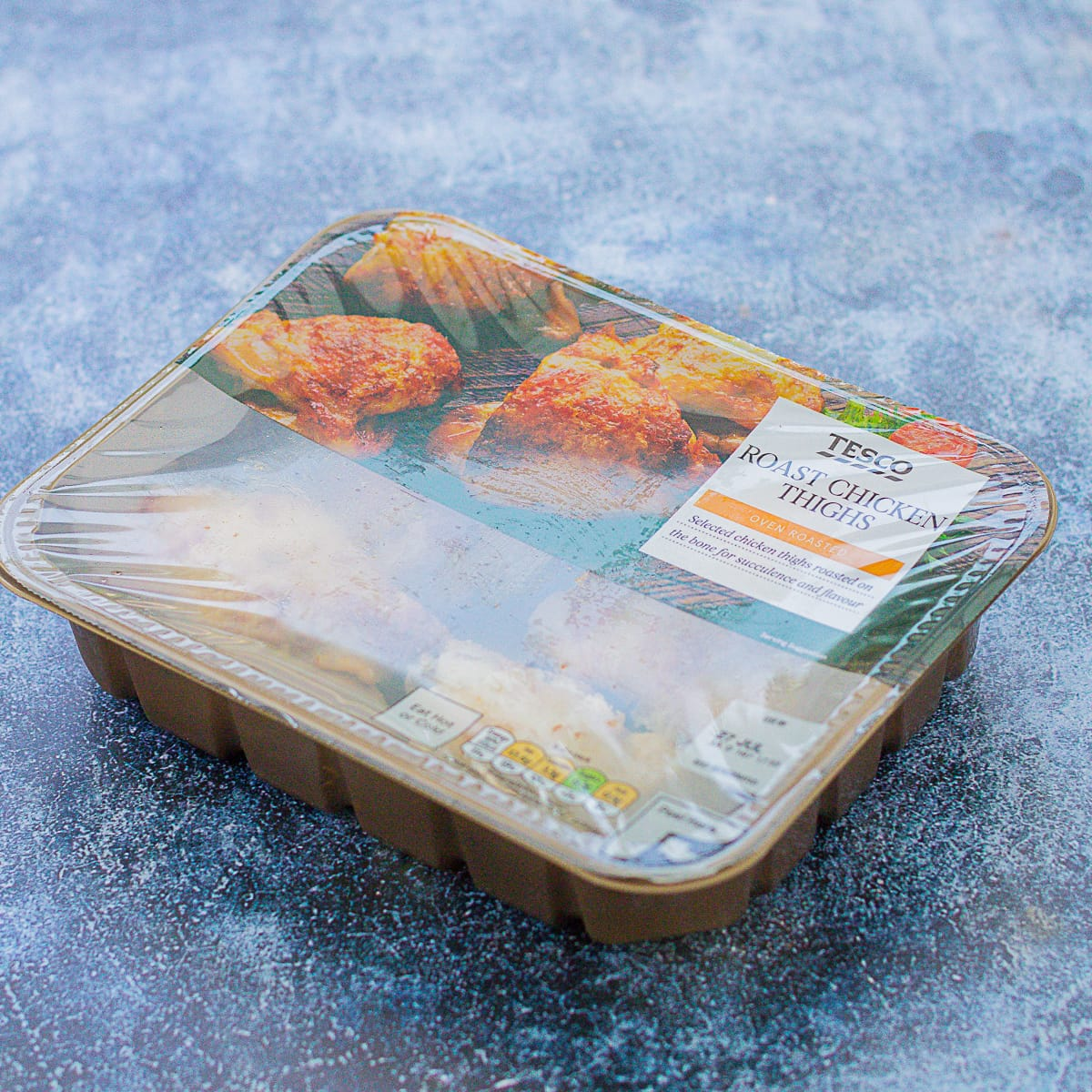 Pack of 4 ready cooked chicken thighs from the supermarket