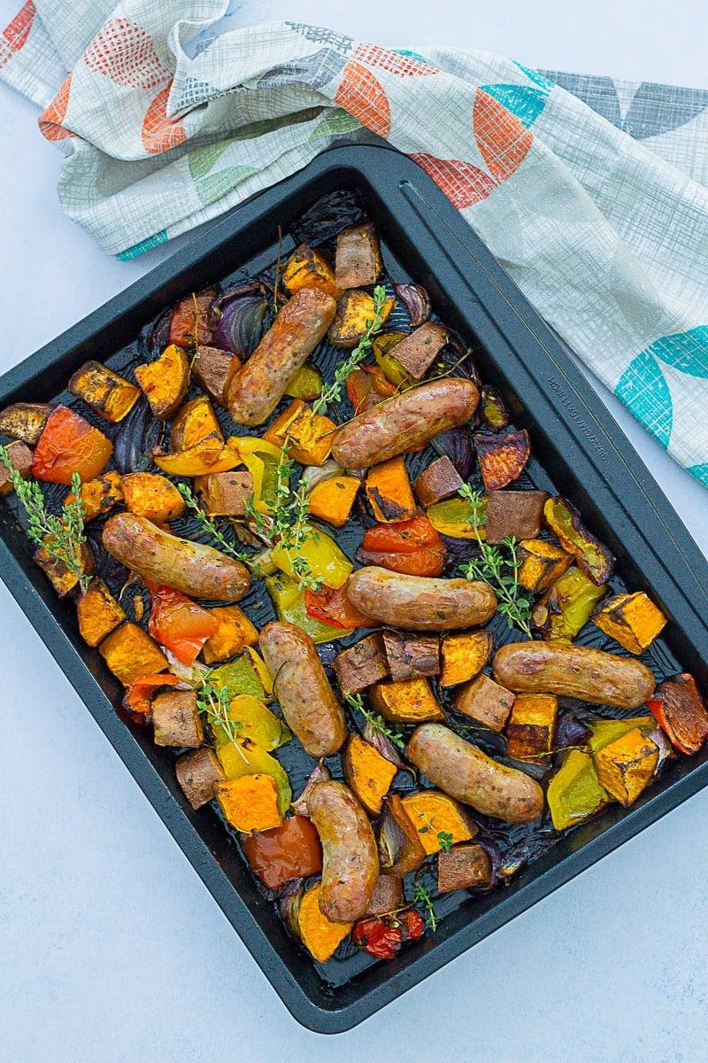 Overhead shot of Easy Sausage and Sweet Potato Traybake