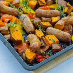 Easy Sausage and Sweet Potato Traybake