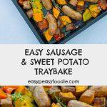 Easy Sausage and Sweet Potato Traybake - pinnable image for Pinterest