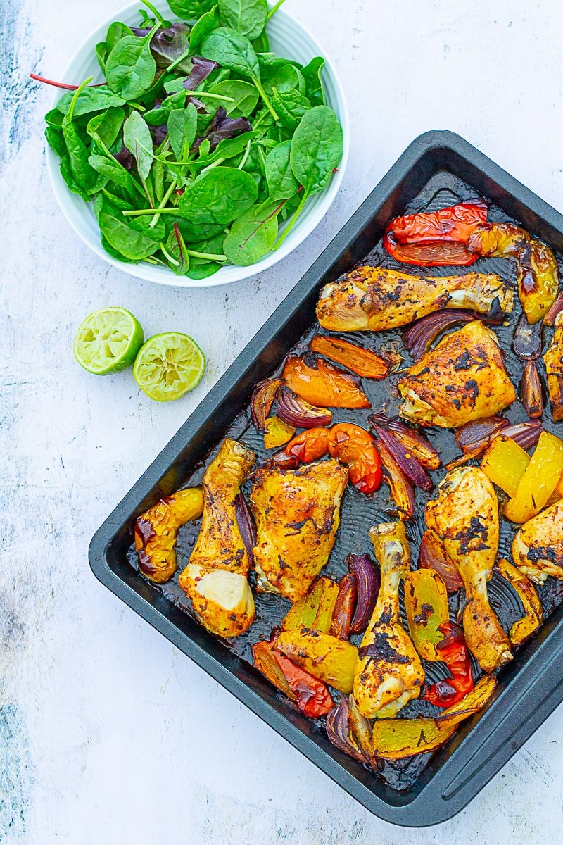 Overhead of Peri Peri Chicken Traybake