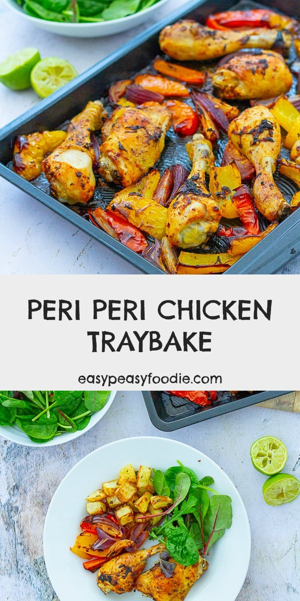 Peri Peri Chicken Traybake - pinnable image for Pinterest