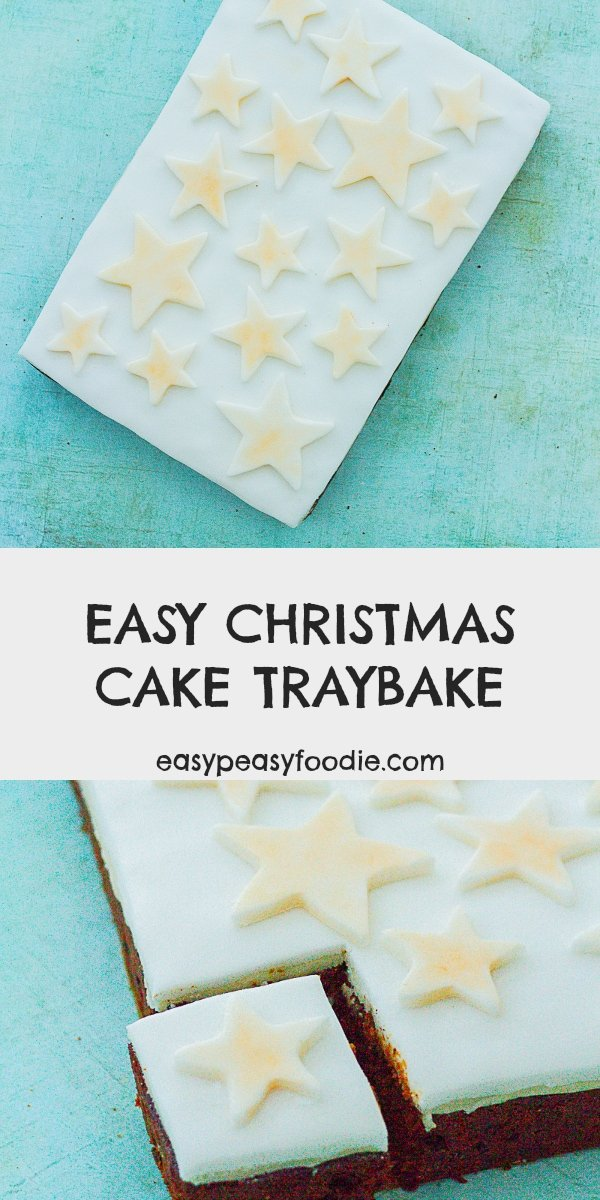 Easy Christmas Cake Traybake - pinnable image for Pinterest