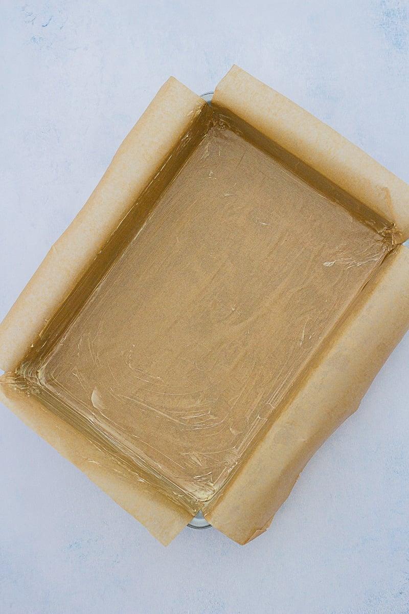 Lined traybake cake pan