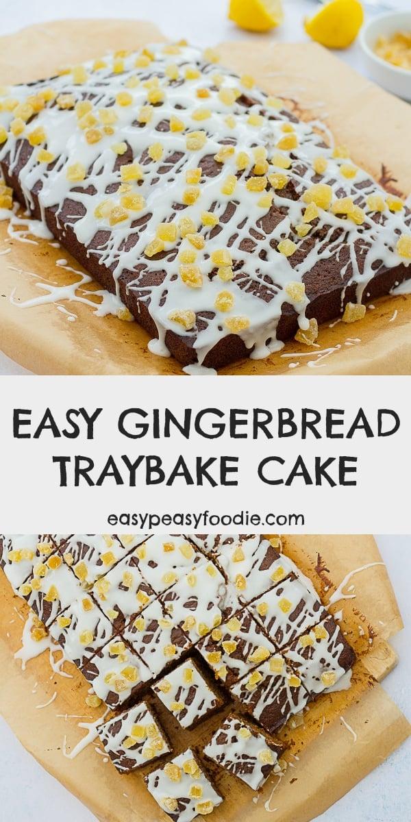 Easy Gingerbread Traybake Cake - pinnable image for Pinterest