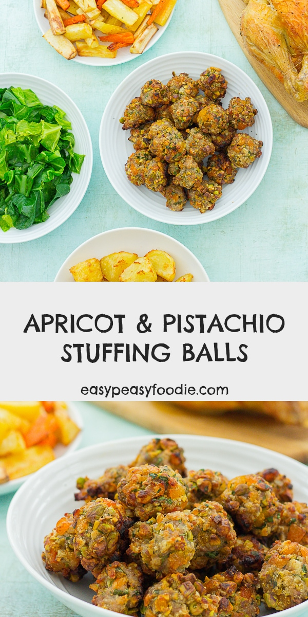Easy Apricot and Pistachio Stuffing Balls - pinnable image for Pinterest