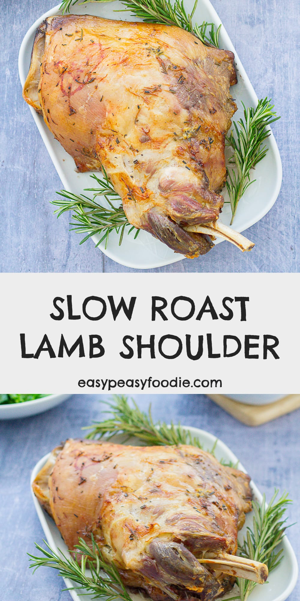 Slow Roast Lamb Shoulder with Garlic and Rosemary - pinnable image for Pinterest