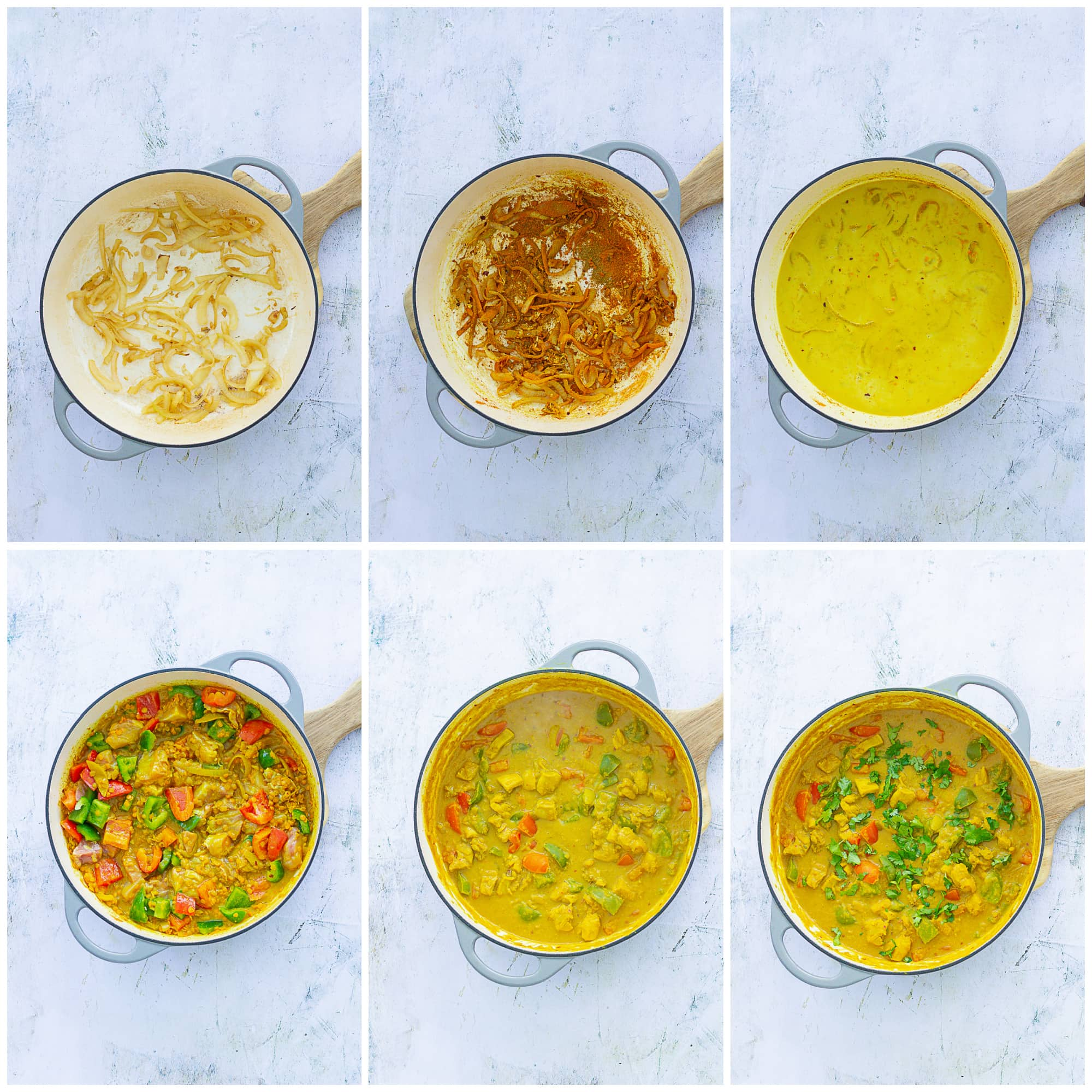 Collage showing 6 step-by-step preparation images of Chicken, Red Lentil and Coconut Curry