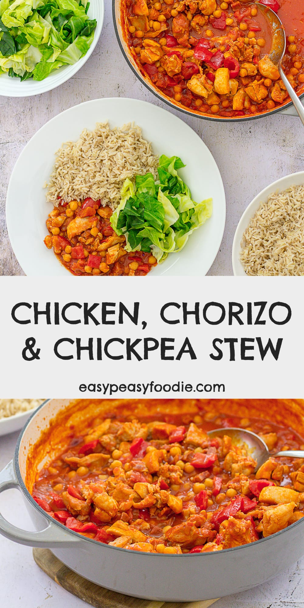 Easy Chicken, Chorizo and Chickpea Stew - pinnable image for Pinterest
