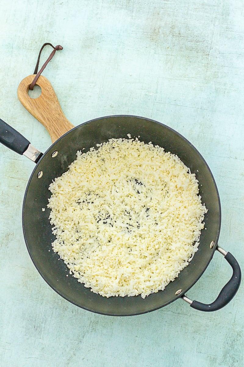 Plain Cauliflower Rice in a wok