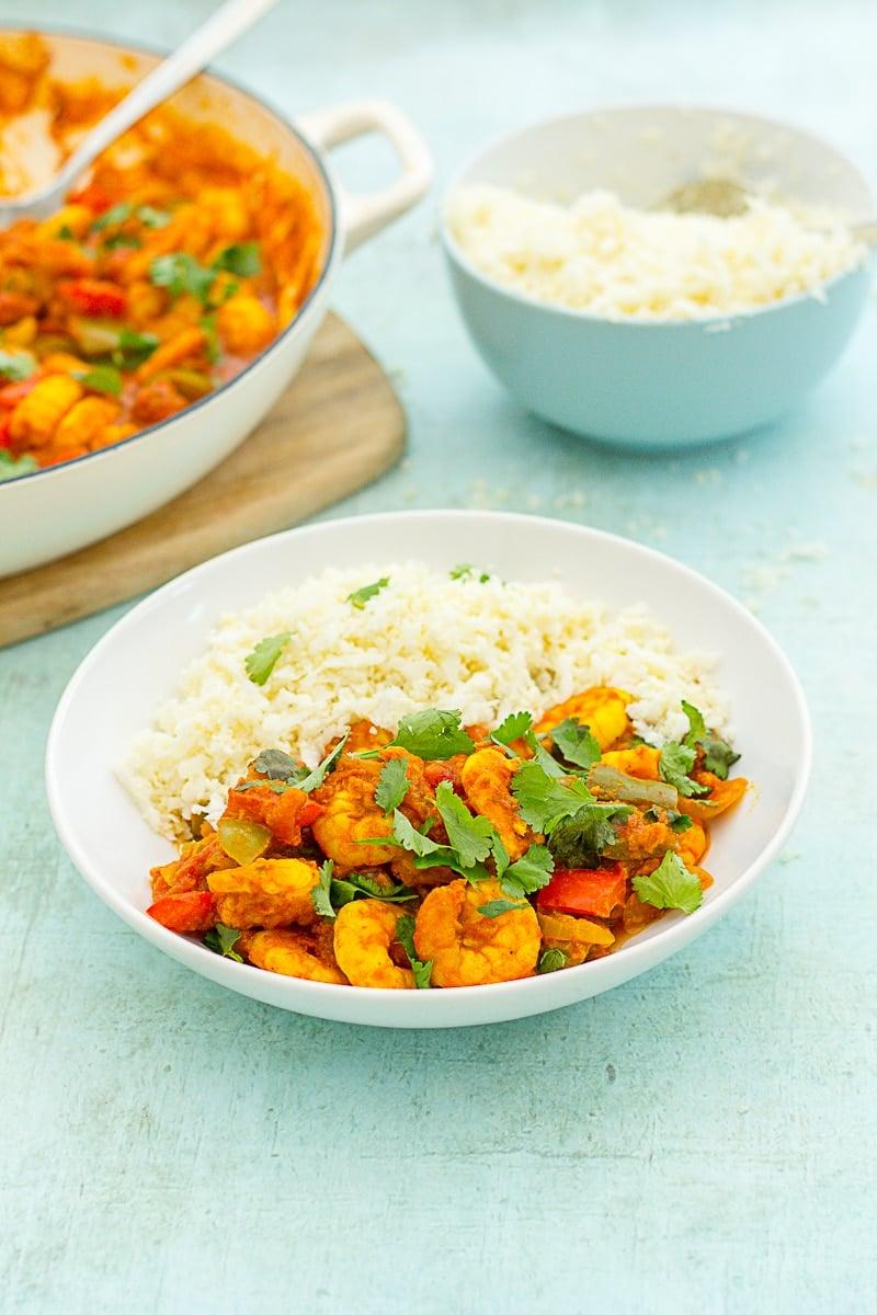 Easy Prawn Jalfrezi in a bowl, with cauliflower rice