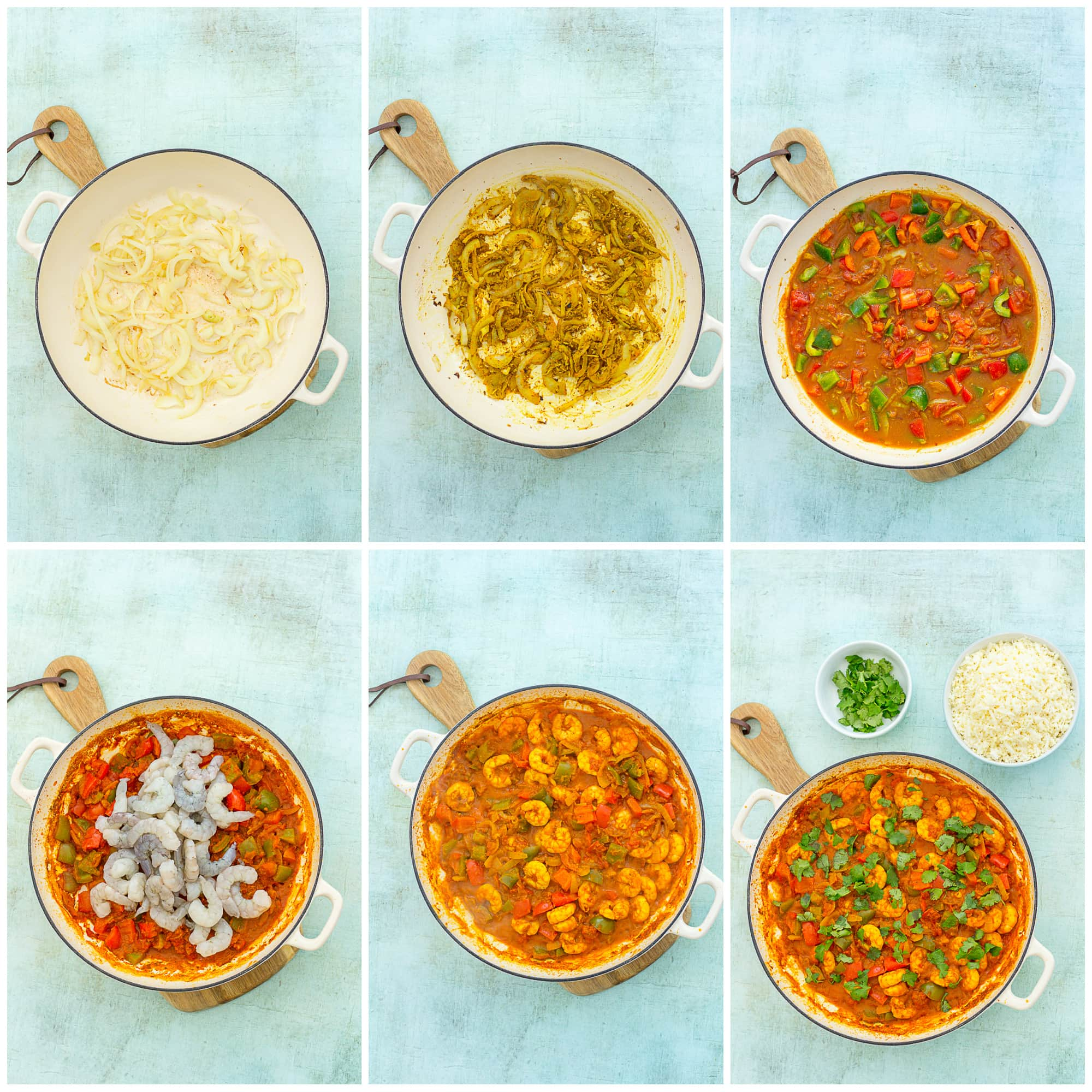 Collage showing 6 process shots for Easy Prawn Jalfrezi