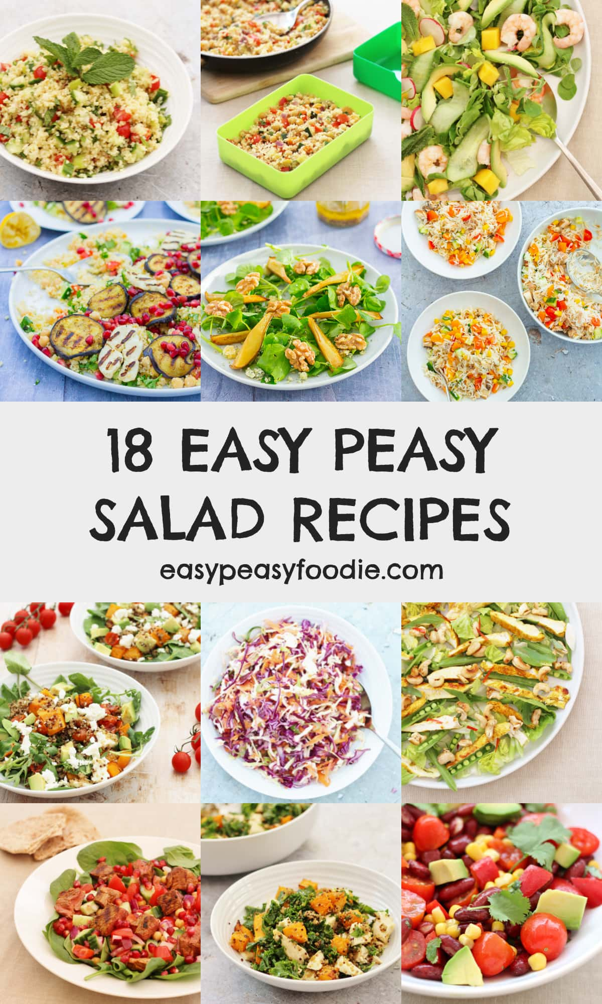 18 Easy Peasy Salad Recipes - pinnable image for Pinterest