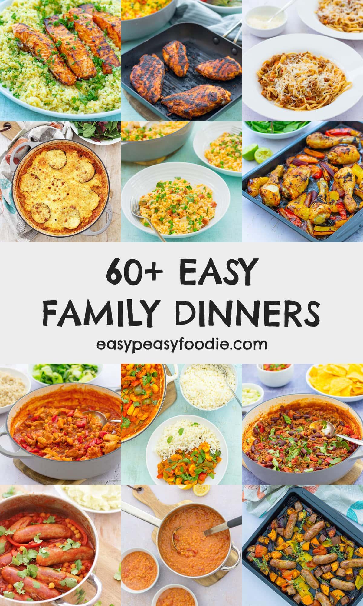 60 Easy Family Dinners - pinnable image for Pinterest
