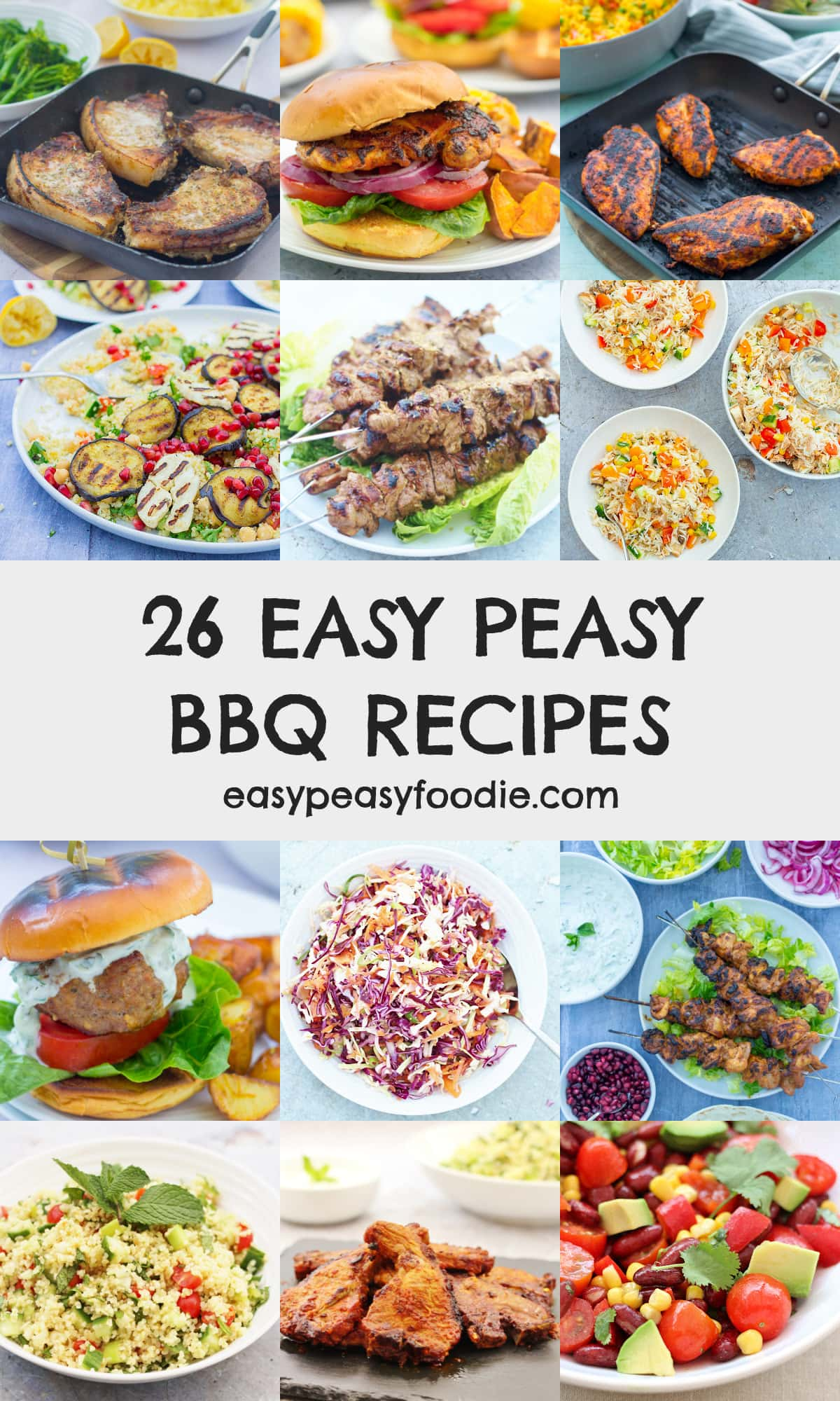 26 Easy Peasy BBQ Recipes - pinnable image for Pinterest