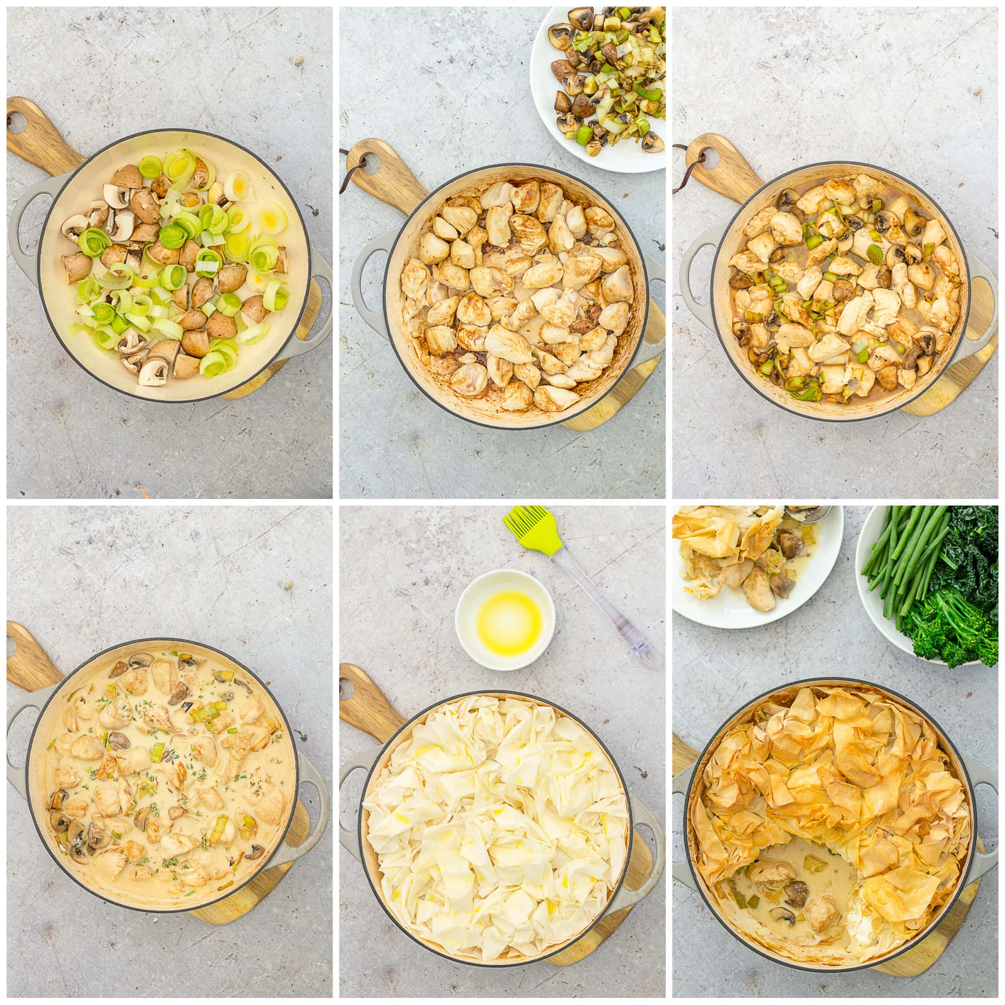 Collage showing 6 process shots for Easy Peasy Chicken, Mushroom and Leek Pie