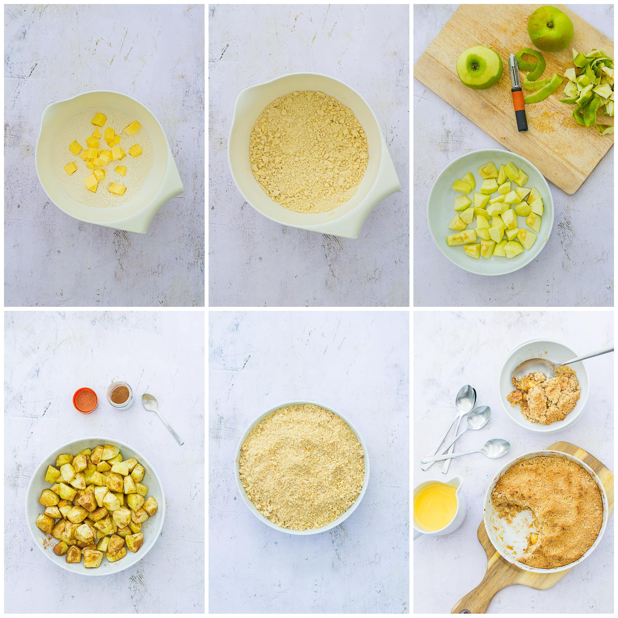 Collage showing 6 process shots for Easy Peasy Apple Crumble