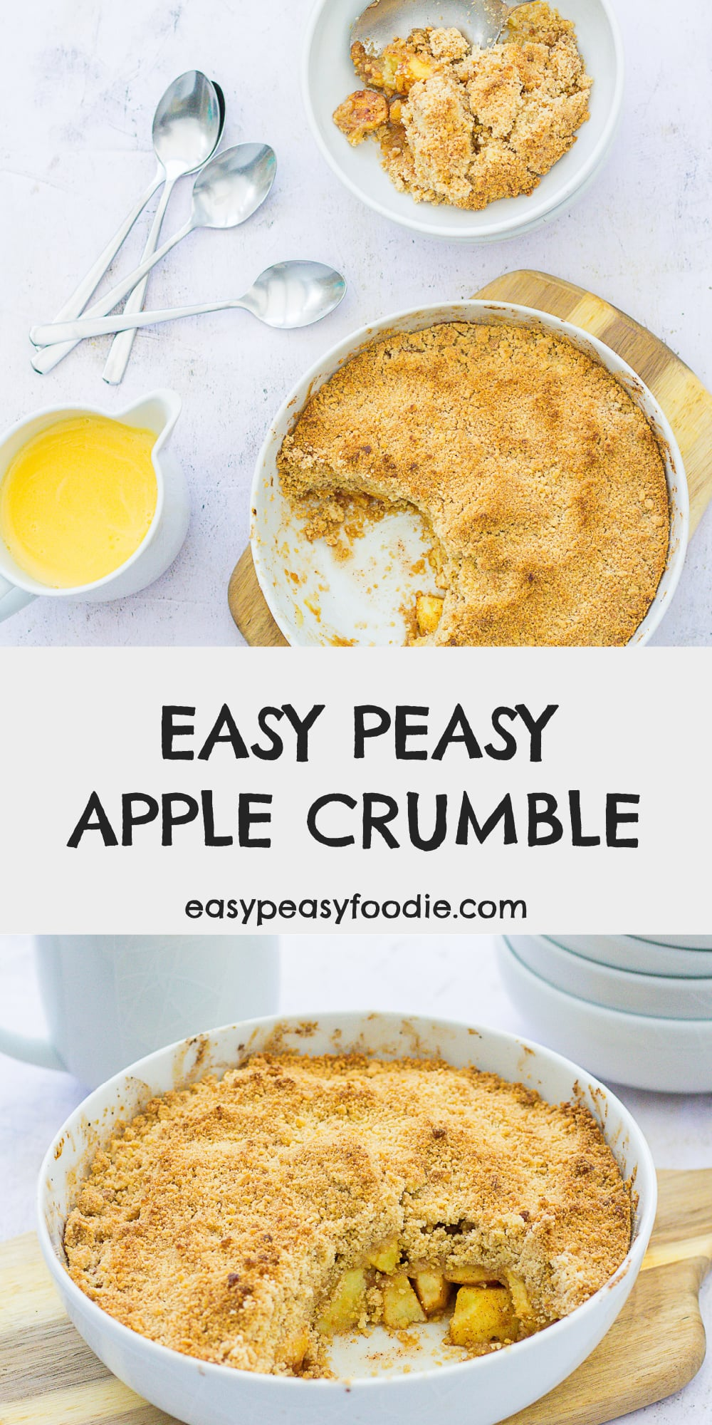 You really can't beat a classic! This Easy Peasy Apple Crumble is quick, simple and virtually foolproof – giving you perfect apple crumble every time! #applecrumble #apple #apples #bramleyapples #crumble #fruitcrumble #easycrumble #easyapplecrumble #cinnamon #makeahead #easyentertaining #britishfood #pudding #dessert #britishfood #familyfood #easypeasyfoodie