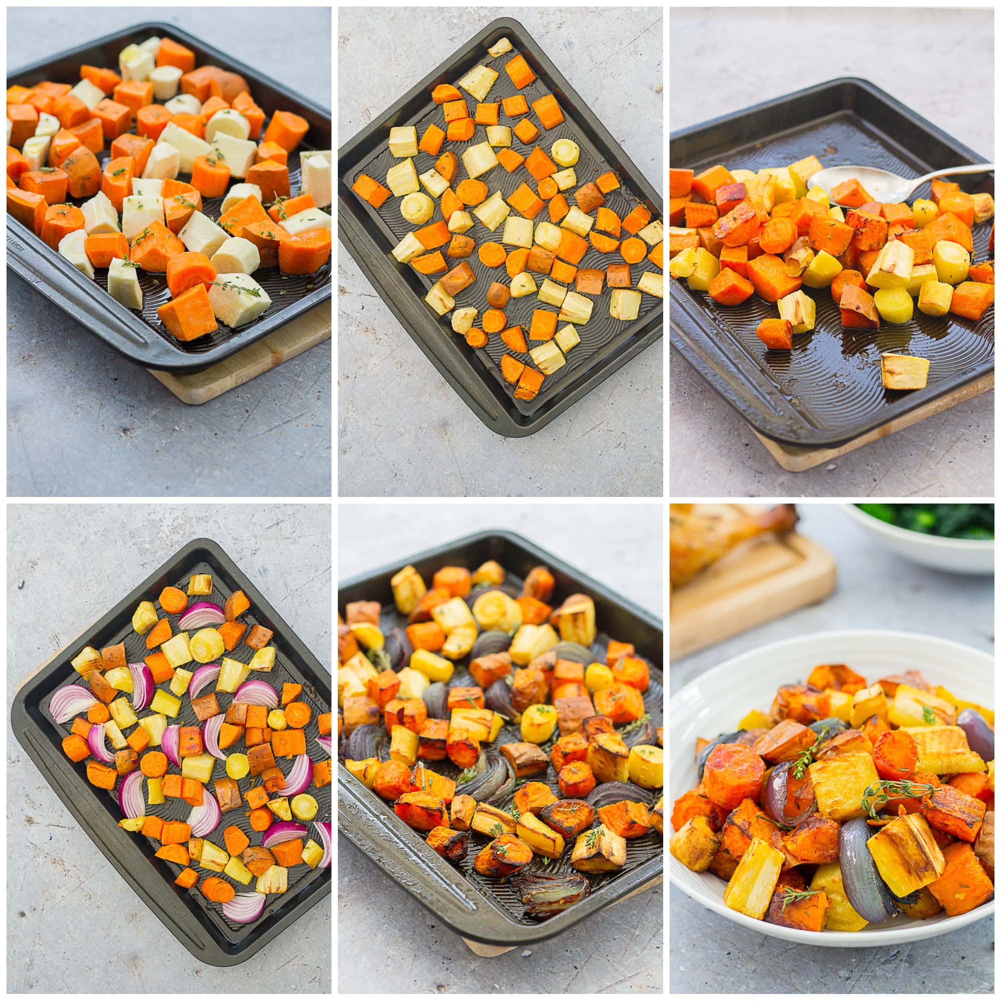 Collage showing 6 process shots for Easy Peasy Roasted Root Vegetables